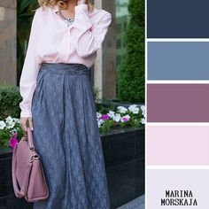 СИНИЙ И СИРЕНЕВЫЙ (500x500, 58Kb) Colour Combinations Fashion, Color Combinations For Clothes, Fashion Colours, Colorful Fashion, Color Combos, Color Matching Clothes, Soft Summer Color Palette, Color Pairing, Layering Outfits
