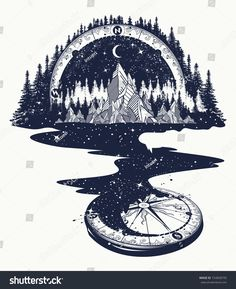 River Of Stars Flows From The Mountains And Compass, Tattoo Art. Royalty Free Cliparts, Vectors, And Stock Illustration. Image compass tattoo River of stars flows from the mountains and compass, tattoo art. Kunst Tattoos, Neue Tattoos, Tattoo Drawings, Body Art Tattoos, Hand Tattoos, Tattoo Art, Tattoos Skull, Totem Tattoo, Bussola Tattoo