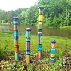 Garden Totems | Hand Painted Garden Art | Garden Sculpture | Sculptural Totems | Yard Art | Colorful Totems | New Style | Pyramid Top by LisaFrick on Etsy