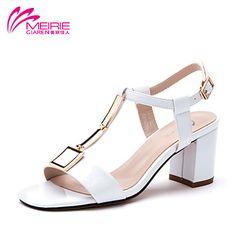 Zapatos de mujer - Tacón Robusto - Tacones / Punta Abierta - Sandalias - Casual - Semicuero - Amarillo / Blanco / Gris 2016 – €27.43