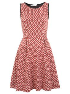 The Styling Up stylists recommend: Miss Selfridge: Geo Red Print Jaquard A-line Skater Dress