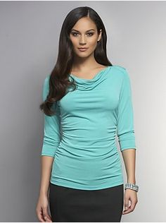 Matte Jersey Cowl-Neck Top with Side Shirring - New York & Company