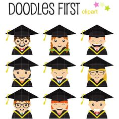This clipart set includes the following elements.  9 x Kids Graduating  Each clipart illustration is included separately as a high resolution PNG file with a transparent background, a JPG with a white background and as as editable SVG file.  Each object is provided at a sizes of 5.5 Inches on its longest side. The PNG makes it versatile to scale for any project.  No watermarks will appear on purchased items.  The purchased clip art that will be provided is much higher quality that what you…