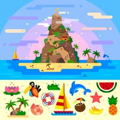 Download Free Graphicriver 	             Fantastic Summer Paradise Island!             #banana #beach #boat #cave #coast #cocos #dolphin #flat #flower #illustration #landscape #oasis #ocean #palm #paradise #sand #sea #seascape #seashell #set #shell #shore #tent #toucan #tourism #tree #tropical #vector #water #watermelon