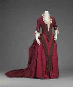 House of Worth red reception dress, ca. 1883, via The Boston Museum of Fine Arts