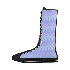 The design features a geometric, chevron pattern in cool tones. #shoe #boots #hightops #hightopsneakers #chevrons #pattern #artsadd #sneakers #forher