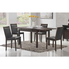Simple, small, and sleek, this Walsh collection of contemporary dining are made of solid hardwood and veneer and are ideal for today is condo. #dining #table #condo #furniture #modgsi