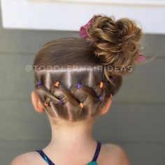 """Toddler hair ideas """"Criss-crossed elastics in the back and a messy bun! I hope… Toddler hair ideas """"Criss-crossed elastics in the back and a messy bun! I hope you have a happy Sunday! You can barely…"""" Cute Hairstyles For Kids, Baby Girl Hairstyles, Back To School Hairstyles, Braided Hairstyles, Hairstyle Ideas, Hairstyles 2016, Toddler Hairstyles, Toddler Hair Dos, Asian Hairstyles"""