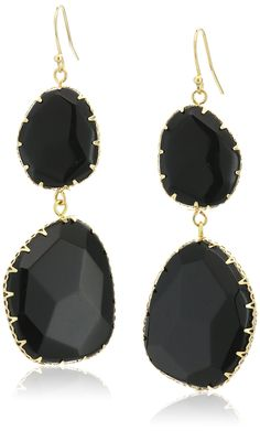 Panacea Genuine Stone Free Form Black Drop Earrings. Gold-tone double-drop earrings featuring faceted agate stones and fishhook backings. Items containing natural stones may have slight variances in size, shape and color. Imported.