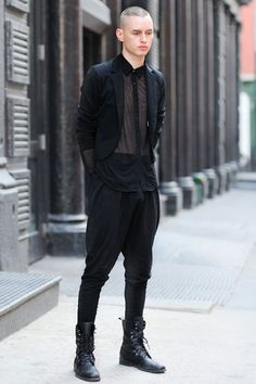 Jeffrey (21 - Model) wears vintage Jacket, Shirt by American Apparel, vintage Pants and vintage italian Shoes