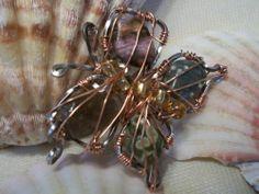 Natural Ocean Jasper Wire Wrapped Butterfly Pendant Handcrafted OOAK | eBay