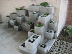 Concrete Block Planter