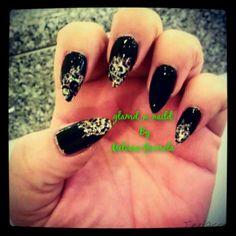 Pointy almond shape acrylics with glitter polish & cheetah nail art