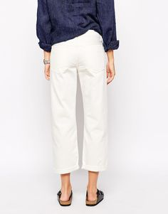 Image 2 of Bethnals Charlie Wide Leg Boyfriend Jeans With Roll Hem In White Selvedge