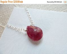 TODAY SALE Genuine Ruby Briolette Sterling by Jenalynscreations