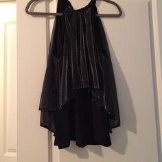 Black and silver sparkles tank top blouse Tank top blouse, high neck, ties in the back. Size medium but fits a small too. Very cute for a night out! Paper Crown Tops Tank Tops