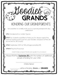 Goodies with Grands: A Grandparents Day Celebration Fully editable Grandparent's Day Celebration Invitation along with a PDF form in case you have trouble with formatting. Grandparents Day Preschool, Grandparents Day Cards, National Grandparents Day, Love You To Pieces, Bonding Activities, Diy Father's Day Gifts, Fathers Day Crafts, Grandparent Gifts, Preschool Crafts