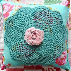 Cushion featuring hand dyed up-cycled doily.  Available from   https://www.facebook.com/ChickenInkCreative
