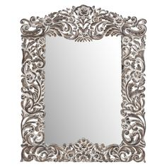 Add artful appeal to your entryway or master suite with this eye-catching wall mirror, featuring a floral scrolling frame and antique white finish.