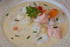 Bakemester Snipp: Fiskesuppe Moussaka, Cheeseburger Chowder, Hummus, Potato Salad, Mashed Potatoes, Food And Drink, Soup, Fish, Meat