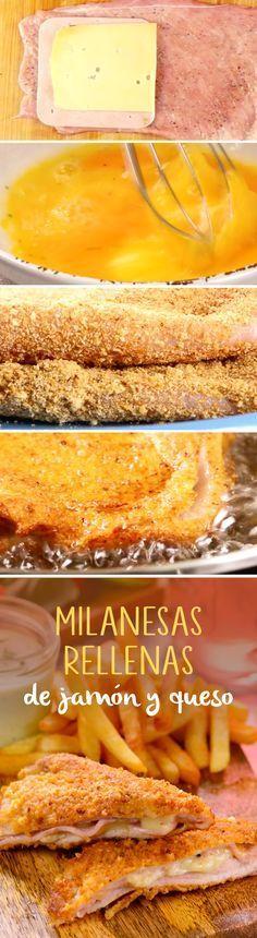 Le dimos un giro a las milanesas tradicionales de pollo y las rellenamos con jamón y queso. Empaniza con pan molido o cereal y sírvelas como platillo principal.