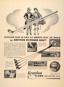 1938 Ad Kroydon Golf Iron Wood Set S Gibson HY-Power - Original Print Ad