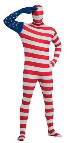 USA Flag Skin Suit Adult Costume - Large