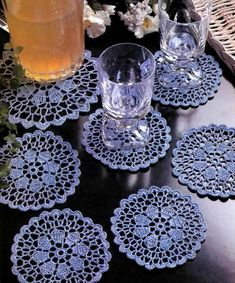Sweet Crochet Coasters Lace doilies with flower in center The Coasters crochet pattern / diagram … Free Crochet Doily Patterns, Crochet Coaster Pattern, Crochet Motifs, Crochet Diagram, Thread Crochet, Free Pattern, Knit Patterns, Stitch Patterns, Filet Crochet