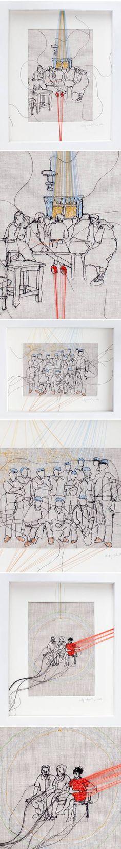 BRODERIE (c) Nike Schroeder  « Tout tient à un fil, on est toujours en péril. » Alberto Giacometti