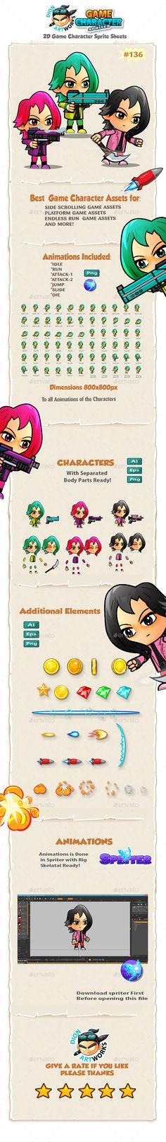 Assassin Girls Game Character Sprites 135 - Sprites Game Assets