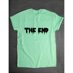 Pastel Goth T-Shirt the End Pastel Goth Clothing T Shirt Green Purple... ($21) ❤ liked on Polyvore featuring tops, t-shirts, blue moose tees, men shirts, blue shirt, blue t shirt and green tee