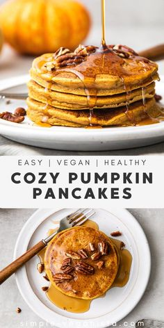 Get your day started with this quick and easy Vegan Pumpkin Pancakes recipe made with a handful of simple ingredients to bring in the flavors of fall! #pumpkinpancakes #healthyrecipes #veganrecipes #plantbased Low Fat Vegan Recipes, Low Acid Recipes, Veggie Recipes, Fall Recipes, Whole Food Recipes, Vegan Meals, Breakfast Bake, Breakfast Recipes, Vegan Breakfast