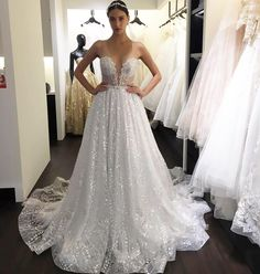 """Glittering Glamour! Sneak peek behind the scenes at Berta Bridal Trunk Show in Singapore! Style """"16-07"""" illusion strapless A-line gown embellished with payette lace beading featuring full cloche skirt and sheer back! @bertabridal #berta"""
