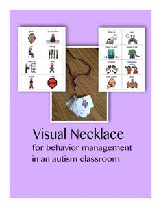 Visual Necklace for behavior management in an autism classroom. 38 different visuals included!