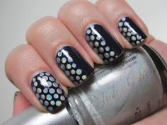 Black with silver polka dots