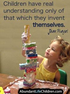 Jean Piagets theory focuses on cognitive development. This picture shows a child learning through play. Learning Theory, Play Based Learning, Early Learning, Kids Learning, Outdoor Learning, Teaching Quotes, Education Quotes, Preschool Quotes, Montessori Quotes