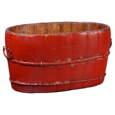Weathered elm bucket with side handles.  Product: BucketConstruction Material: Elm wood and metalCol...