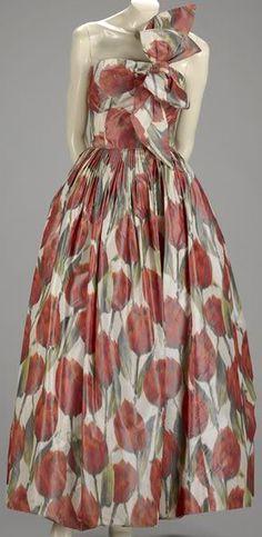 Norman Norell - Robe de Cocktail 'Tulipes' - Taffetas et Organza de Soie - Vers 1958
