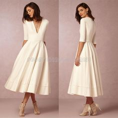 Fashion Short Ivory Wedding Dresses 2016 Deep V Neck Tea Length Boho Vintage Wedding Dress Half Sleeve Satin Bridal Gowns
