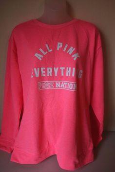 Victoria's Secret PINK Nation Sweatshirt Campus Crew All Pink Everything Medium  #VictoriasSecret #SweatshirtCrew