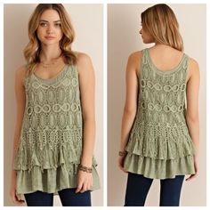 """Boho Sage Crochet Overlay Top Sage solid sleeveless ruffled top featuring crochet overlay. Fully lined. Non-sheer. Woven. Lightweight. 65%Rayon, 35% Polyester.  TE2701C-6D6 no trades!!  Measurements, laying flat: Small: bust-16"""", length 29"""" Medium: bust- 17"""", length-29"""" Large: bust- 18""""; length-29.5"""" Tops Blouses"""