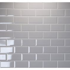 Metro Brick Gloss Grey Ash x Wall Tile Metro Tiles Kitchen, Brick Tiles Bathroom, Brick Tile Wall, Grey Wall Tiles, Ceramic Wall Tiles, Brick Tiles Kitchen, Brick Style Tiles, Grey Bathrooms, Small Bathroom