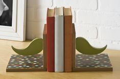 Hipster Craft: DIY Bookends with Mustaches - diycandy.com