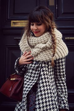 winter. Love the houndstooth and chunky scarf!