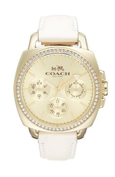 COACH 'Boyfriend' Crystal Bezel Leather Strap Watch, 42mm available at #Nordstrom