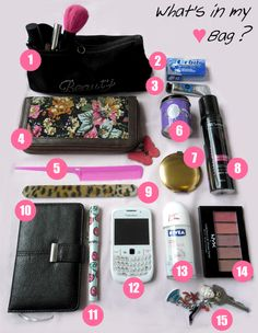 Lipgloss Kisses: What's in My Handbag? Travel Bag Essentials, Packing Tips For Travel, What In My Bag, What's In Your Bag, Purse Organization, Organizing, Inside My Bag, What's In My Purse, Girl Sleepover