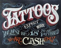TATTOO SHOP ART PRINT - Tattoos Sign by Zeke's Antique Signs 19x13 Poster #Realism