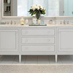 custom double vanity with drawers, on slim legs