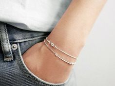 Skinny Bar and CZ Diamond Layering Bracelet Set - Sterling Silver or 14k Gold Filled - Simple Minimalist Everyday Jewelry LITTIONARY