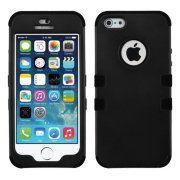 Insten Black/Black Stylish TUFF Hybrid Rugged Shockproof Phone Hard Snap-On Case Cover For APPLE iPhone SE 5S 5